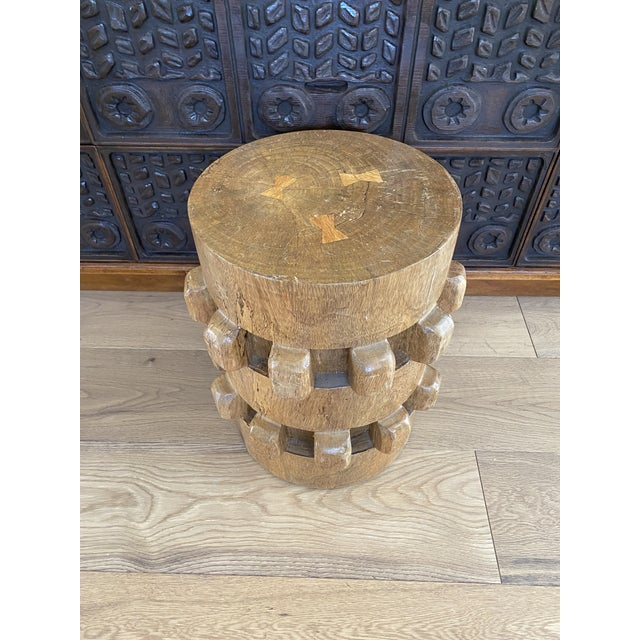 1950s Vintage Hand-Carved Wooden Stool Side Table For Sale - Image 5 of 8