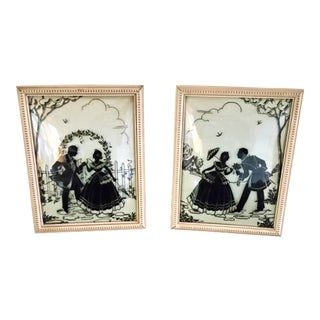 Vintage 1930's Convex Glass Reverse Painted Framed Silhouettes - a Pair For Sale