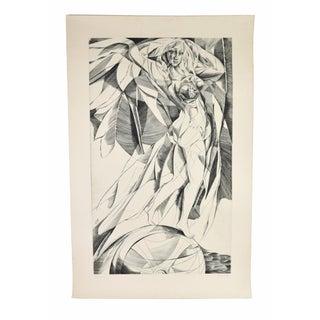 "Large Mid-Century Modern Cubist Nude Engraving ""Fortuna"" Bernhard Epple For Sale"