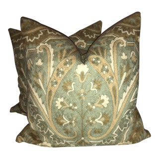 Schumacher Maharajah Crewel Pillows - a Pair For Sale