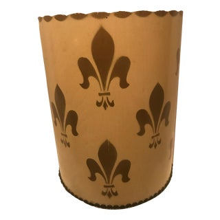 Vintage New Orleans Inspired Gold Fleur De Lis Trilby England Wood Waste Basket