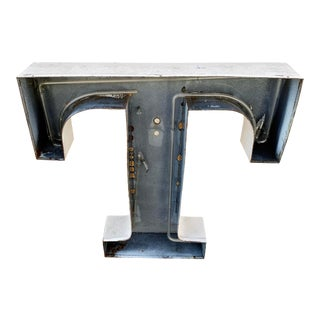 Jumbo Mid Century Channel Letter T Architectural Salvage Wall Sign For Sale