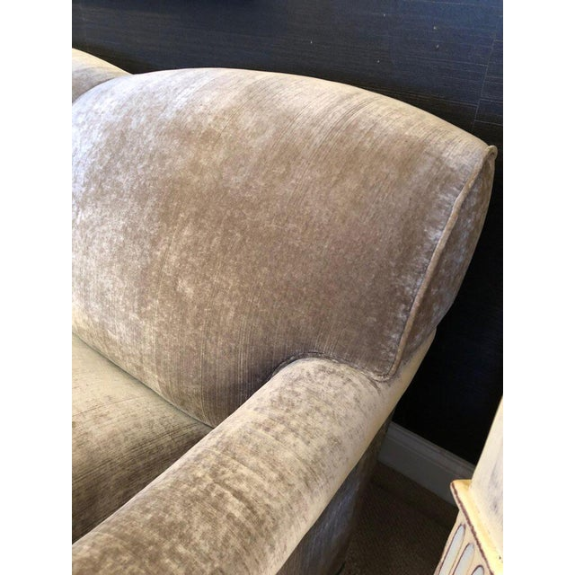 Traditional Modern George Smith Taupe Silk Velvet Sofa For Sale - Image 3 of 12