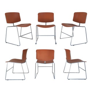 1970s Steelcase Max Stacker Chrome Chair - Set of 6 For Sale