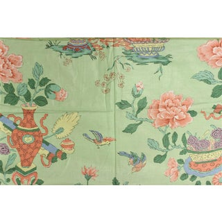 Chinoiserie Celedon Green Glazed Chintz Fabric