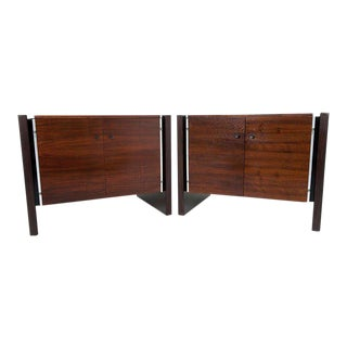 Robert Baron for Glenn of California Walnut & Rosewood Nightstands - A Pair