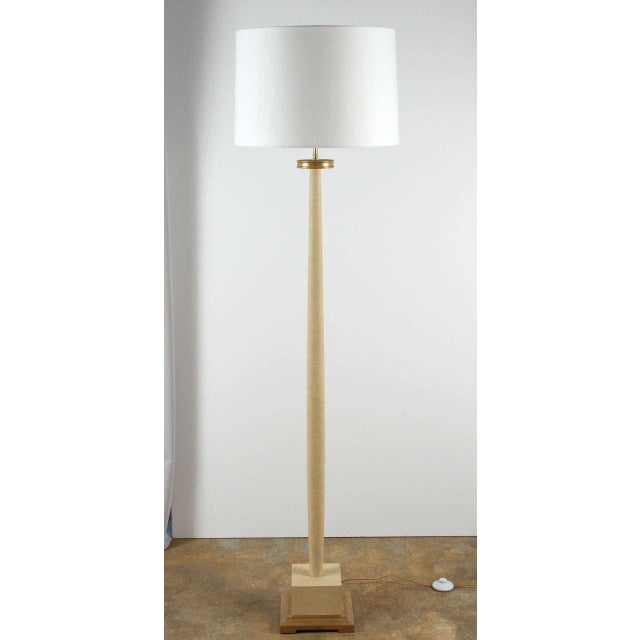 Classic and elegant Paul Marra faux shagreen 1940s inspired floor lamp, shown in cream. 22-karat yellow gold finished wood...