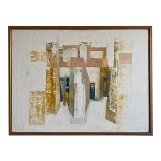 Framed Mid-Century Abstract Oil Painting Signed Ron Embleton For Sale