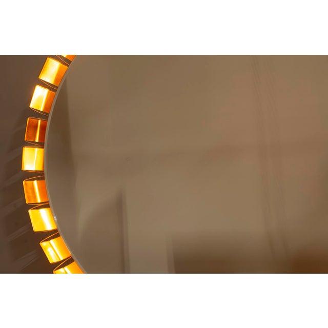 Large Mid Century Bronze Frame Back Lit Mirror For Sale - Image 9 of 11