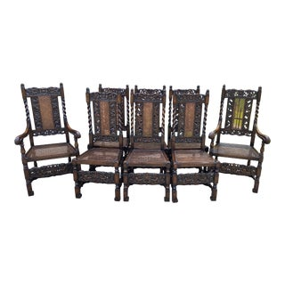 Antique English Barley Twist Caned Oak Dining Chairs - Set of 8 For Sale