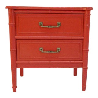 Henry Link Faux Bamboo High Gloss Fiesta Orange Nightstand