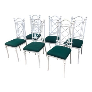 Vintage Faux Bamboo Metal Kessler Chairs Set of 6 For Sale