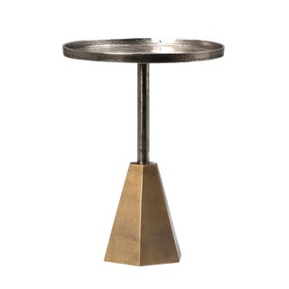 Nickel & Brass Modern Side Table Small For Sale
