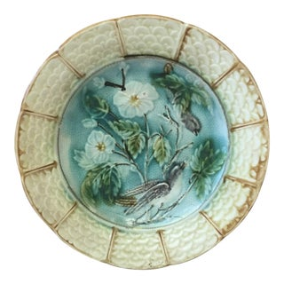 1890 Antique Majolica Onnaing Bird Plate For Sale