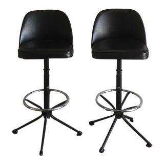 Vintage Mid Century Modern Black Swivel Counter Stools- a Pair For Sale