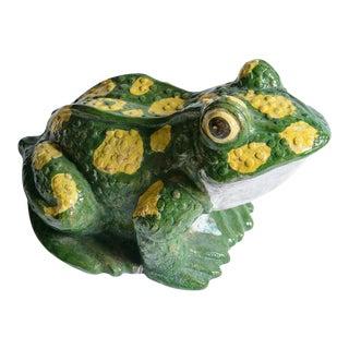 Italian Large Glazed Terra Cotta Polka Dotted Green Frog For Sale