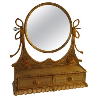 1960s Italian Silver and Gold-Painted Vanity Mirror For Sale