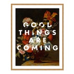 Good Things Are Coming by Lara Fowler in Gold Framed Paper, Medium Art Print