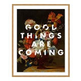 Image of Good Things Are Coming by Lara Fowler in Gold Framed Paper, Medium Art Print For Sale