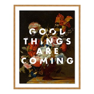 Good Things Are Coming by Lara Fowler in Gold Framed Paper, Medium Art Print For Sale