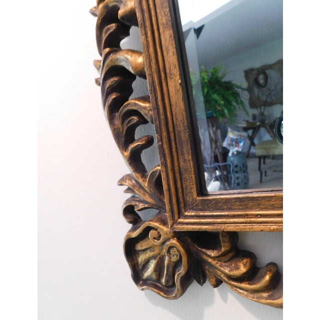 Vintage Baroque Style Gold Leaf Beveled Wall Mirror For Sale - Image 9 of 11