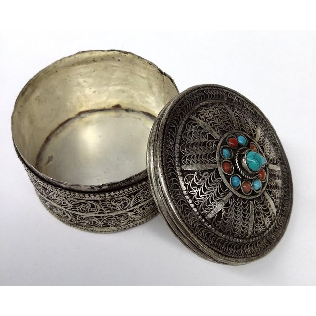 Vintage Tibetan Silver Trinket Box For Sale - Image 7 of 7