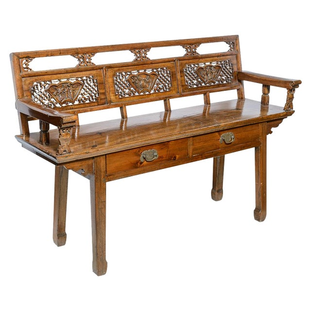 Chinese Elm Wood Bench For Sale
