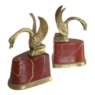 Vintage Set of Brass Carved Swan Bookends