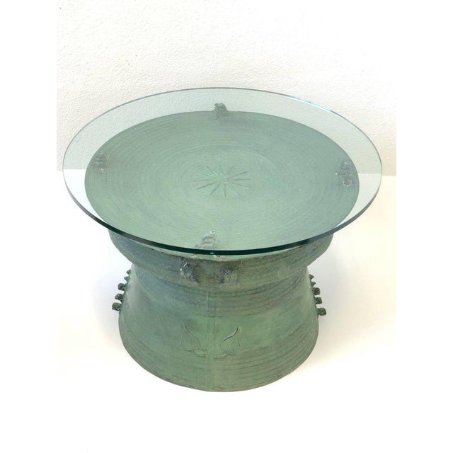 Mid-Century Modern Pair of Bronze and Glass South Asian Rain Drum Tables For Sale - Image 3 of 11