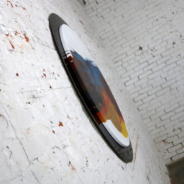 Canvas Abstract Round Acrylic Canvas Painting Mounted on Smoke Plexiglass by Ted R. Lownik For Sale - Image 7 of 13