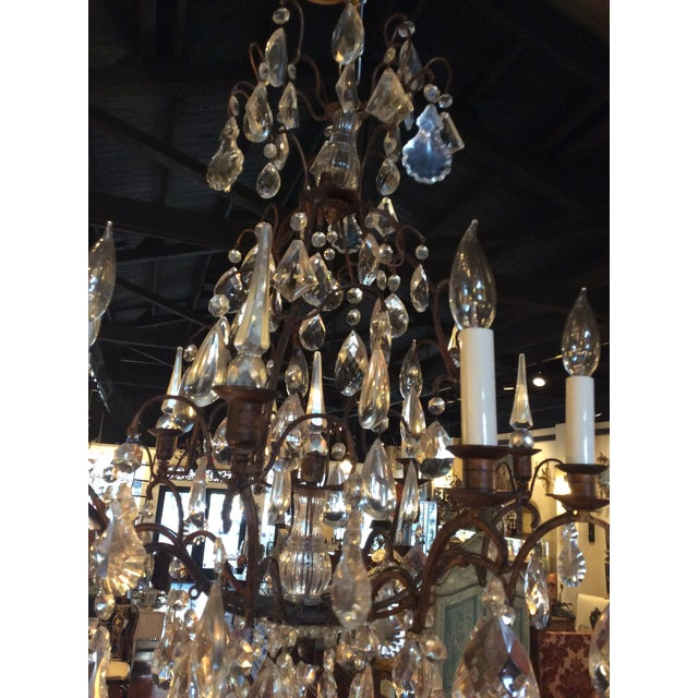 French Antique French Crystal Chandelier For Sale - Image 3 of 4