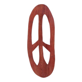 1990's Large Sculptural Handcrafted Wood Peace Sign For Sale