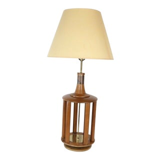 60s Mid Century Modern Wood Brass Tall Table Lamp For Sale