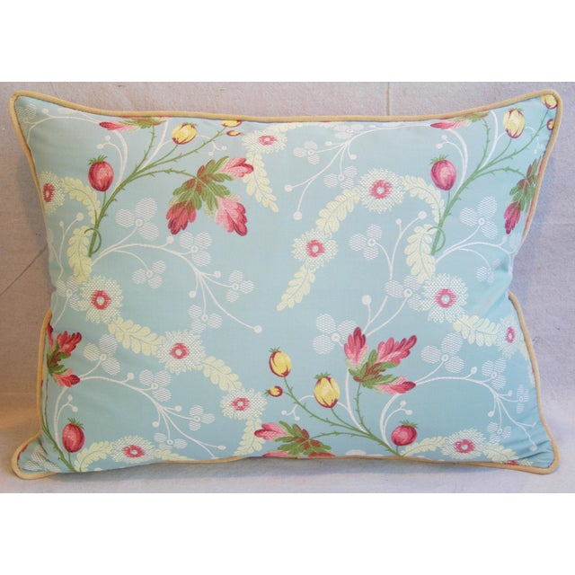 Powder Blue Scalamandré Floral Brocade Pillows - A Pair - Image 5 of 11