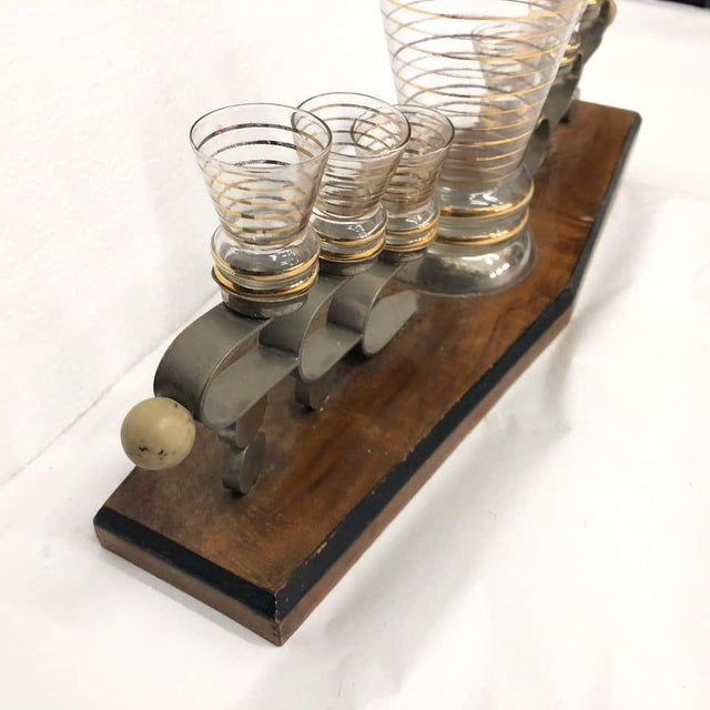 Art Deco 1930s Italian Art Deco Glass and Wood Liquor Set on Stand - Set of 7 For Sale - Image 3 of 13