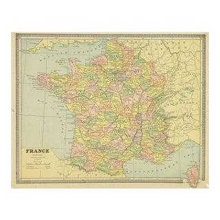 Vintage Map of France, 1890
