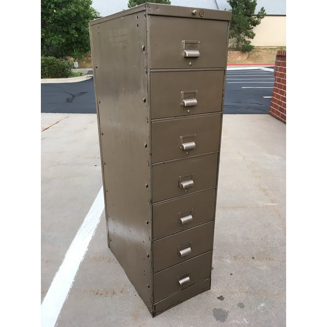 Mid-Century Modern 1930s Art Metal Industrial 7-Drawer Vertical File For Sale - Image 3 of 13