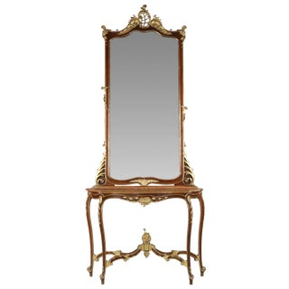 Rococo Parcel Gilt Walnut Mirror & Console Table - A Pair For Sale