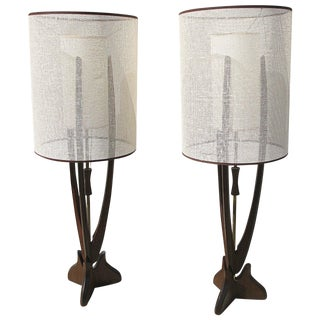 Pair of Walnut and Brass Large Sculptural Table Lamps For Sale