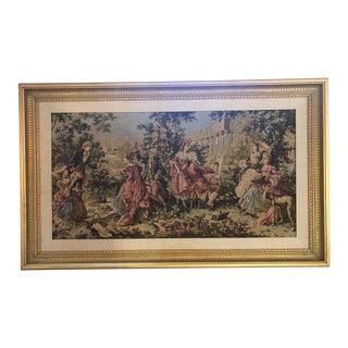 1990s Gobelin French Style Custom Gilt Framed Tapestry For Sale