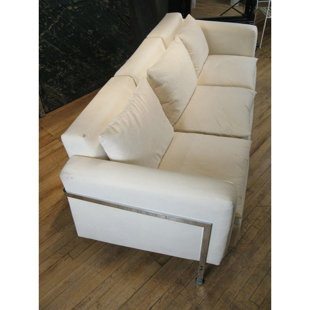 White 1960s Polished Steel Sofa by Robert Haussmann for Hans Kaufeld For Sale - Image 8 of 9