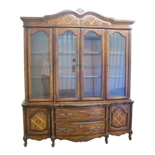 French Provincial Bassett Lighted Top China Cabinet For Sale