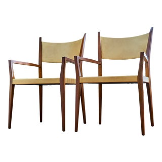 1950s Paul McCobb Arm Chairs for Calvin Furniture With Original Woven Seats - a Pair For Sale