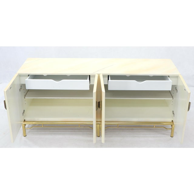 Mid-Century Modern White Lacquer Faux Finish Door 4 Doors Credenza on Brass Base For Sale - Image 10 of 11