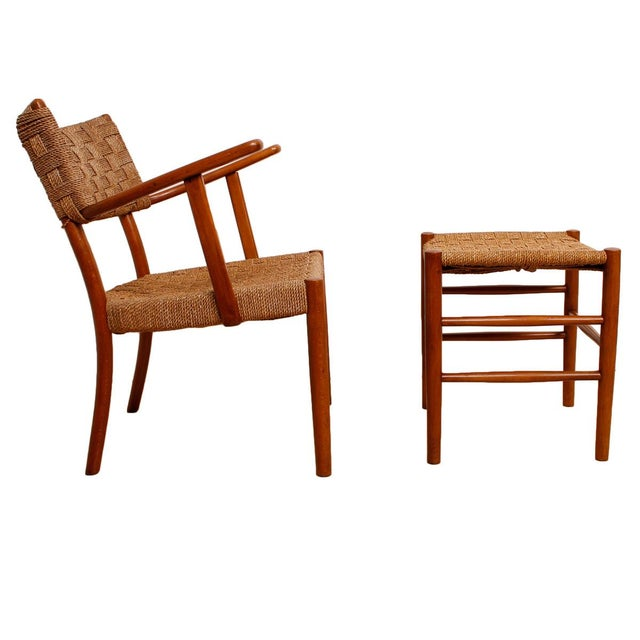 Fritz Hansen 1930's Woven Rope Chair & Ottoman - Image 3 of 6