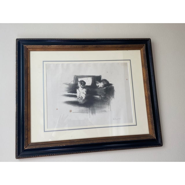 """Early 1970's Margery Austen Ryerson """"Child With Cat At The Piano"""" Framed and Signed In Pencil Lithograph. Beautiful, sweet..."""