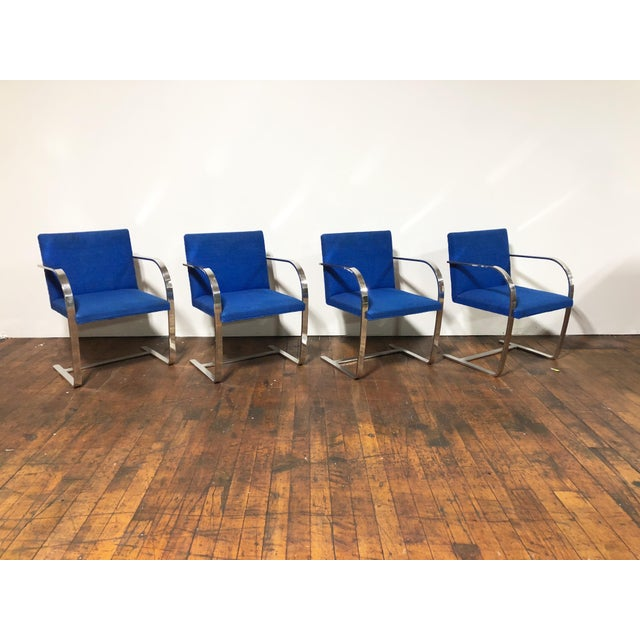 1970s Original Mies Van Der Rohe for Knoll Solid Steel Flat Bar Brno Dining Chairs - Set of 4 For Sale - Image 13 of 13