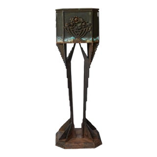 Art Deco Iron Pedestal Planter For Sale