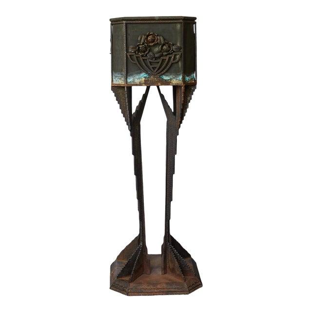 Art Deco Iron Pedestal Planter For Sale