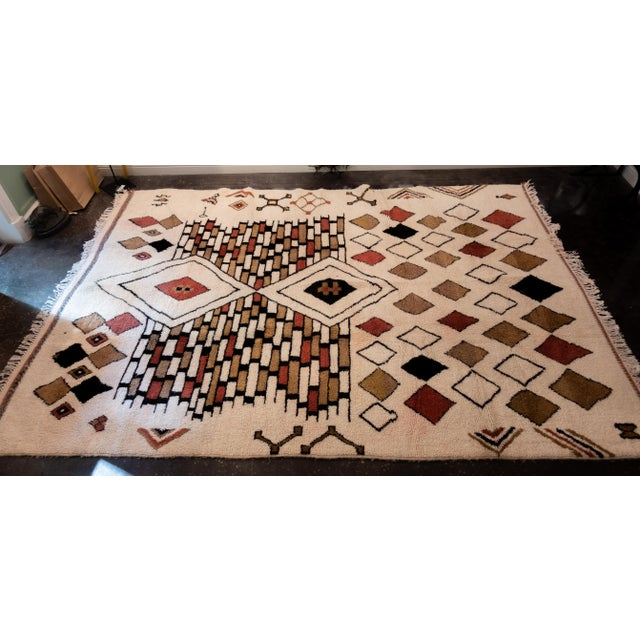 Tribal Moroccan Handwoven Rug Made with Natural Vegetable Dye and Wool For Sale - Image 3 of 7